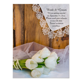 Rustic White Tulips Country Wedding Save the Date Magnetic Card