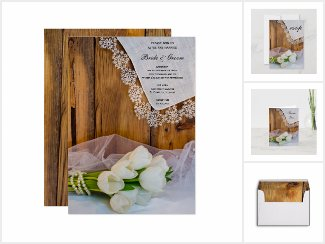 Rustic White Tulips Country Wedding Stationery