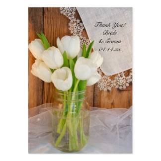 Rustic White Tulips in Mason Jar Wedding Favor Tag Large Business Card