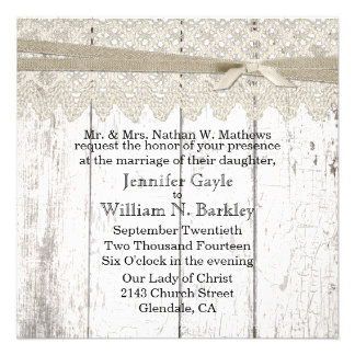 Rustic White Washed Wood and Lace Wedding Invitations