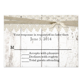 Rustic White Washed Wood and Lace Wedding RSVP Announcement