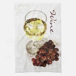 Rustic white wine glass kitchen towel