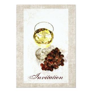"""Rustic white wine glass with grapes invitation 5"""" x 7"""" invitation card"""