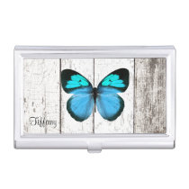 Rustic White Wood and Butterfly Business Card Case
