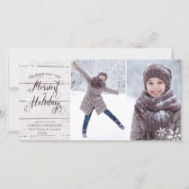 Rustic White Wood and Snowflake Overlay Holiday Card