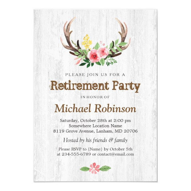 Rustic White Wood Deer Antler Retirement Party Card