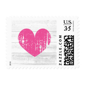 Rustic white wood fuchsia pink heart wedding stamp