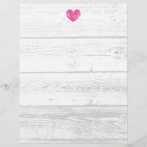 Rustic white wood grain line wedding letterhead