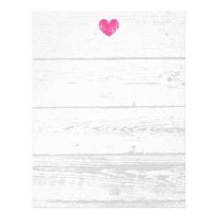 rustic white wood grain line wedding letterhead