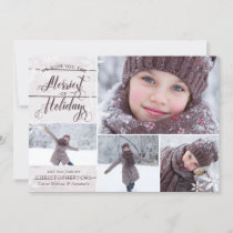 Rustic White Wood | Snowflake Overlay | 3 Photos Holiday Card