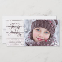 Rustic White Wood | Snowflakes Overlay Holiday Card