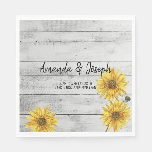 Rustic White Wood Sunflowers Wedding Napkins