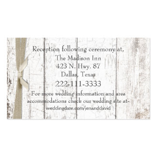 Rustic White Wood Wedding Enclosure Card Double-Sided Standard Business Cards (Pack Of 100)
