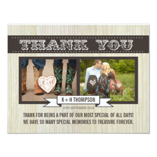 Rustic White Wood Wedding Thank You Photo Cards Invitations