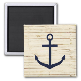Rustic White Wood with Anchor 2 Inch Square Magnet