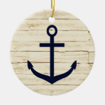 Rustic White Wood with Anchor Christmas Ornaments