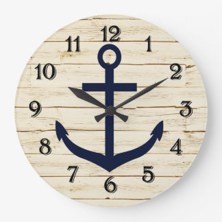 Rustic White Wood with Anchor Large Clock