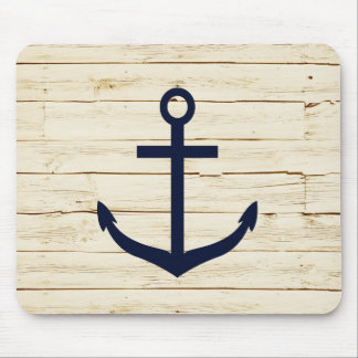 Rustic White Wood with Anchor Mouse Pad