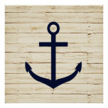 Rustic White Wood with Anchor Poster