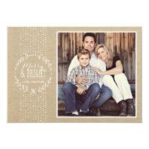 Rustic White Wreath Holiday Photo Card Custom Invitation