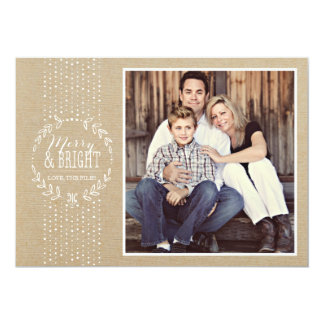 Rustic White Wreath Holiday Photo Card Custom Invitation