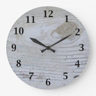 Rustic Whitewashed Board Large Clock