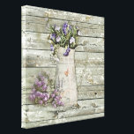 """rustic whitewashed wood farmhouse lavender canvas print<br><div class=""""desc"""">rustic whitewashed wood farmhouse lavender aaccessories. Western country home accessories.</div>"""