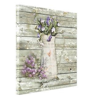 rustic whitewashed wood farmhouse lavender canvas print