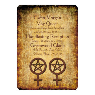 Rustic Wiccan Lesbian Handfasting Reception Invite