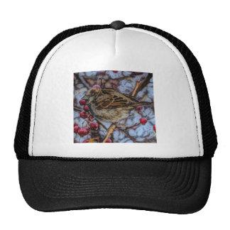 Rustic wild bird with winter berries trucker hat