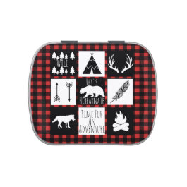 Rustic Wilderness Animals & Buffalo Check Plaid Candy Tin