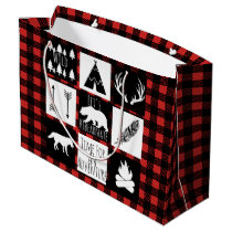 Rustic Wilderness & Animals Buffalo Check Plaid Large Gift Bag