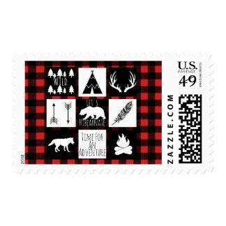 Rustic Wilderness & Animals Buffalo Check Plaid Postage