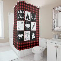 Rustic Wilderness & Animals Buffalo Check Plaid Shower Curtain
