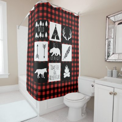 Red And Black Buffalo Gingham Checked Pattern Shower Curtain