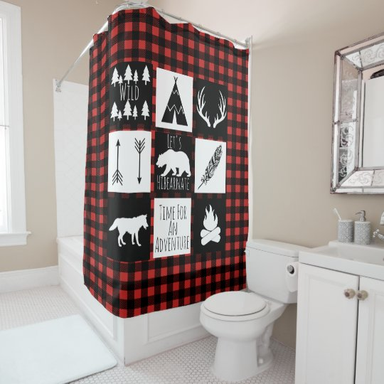 Rustic Wilderness Animals Buffalo Check Plaid Shower Curtain