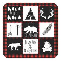 Rustic Wilderness & Animals Buffalo Check Plaid Square Sticker