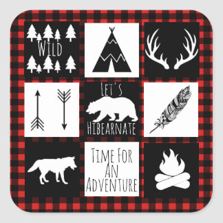 Rustic Wilderness & Animals Buffalo Check Plaid Square Sticker