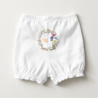 Rustic Wildflower Nosegay Frame Personalized Diaper Cover