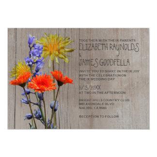 Rustic Wildflowers Wedding Invitations