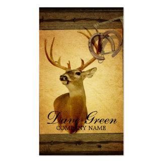 rustic wildlife vintage barn wood hunter deer business card