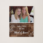 "Rustic | Will You Be My Maid of Honor Photo Jigsaw Puzzle<br><div class=""desc"">This puzzle is a fun way for you to ask that special person to be your maid of honor. Add a personal touch to the puzzle with your favorite photo of your maid of honor. The rustic wood background features white calligraphy text that reads: Will You Be My Maid of...</div>"