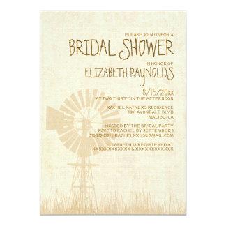 Rustic Windmill Bridal Shower Invitations