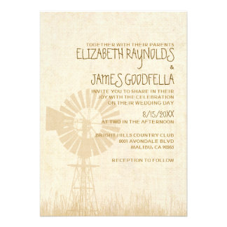 Rustic Windmill Wedding Invitations Custom Invitation