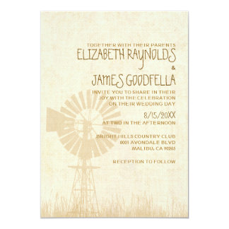 Rustic Windmill Wedding Invitations