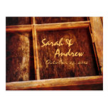 Rustic Window Frame Wedding RSVP Postcard