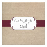 Rustic Wine and Beige Burlap Girls Night Out Custom Invitation