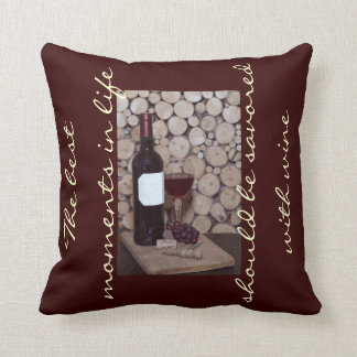 Rustic wine bottle and a glass of wine pillows
