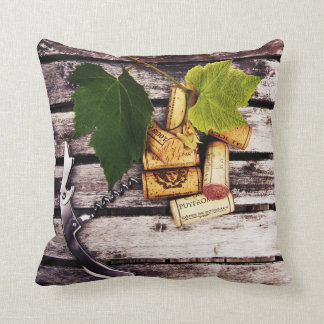 Rustic wine bottle corks and corkscrew throw pillows