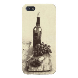 Rustic wine bottle, grapes and corkscrew iPhone SE/5/5s cover